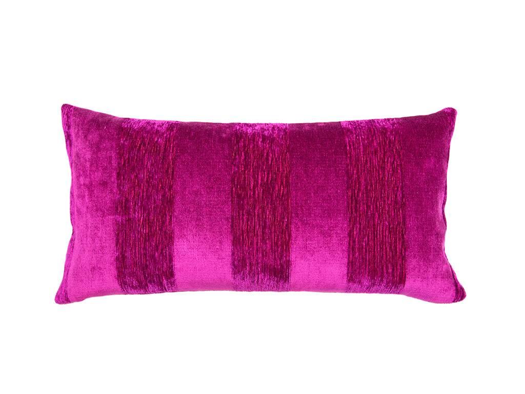 Kreatelier Stripe Pillow in Fuschia - 11 x 21in