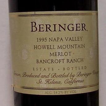 BERINGER HOWELL MOUNTAIN MERLOT 1996 750ML