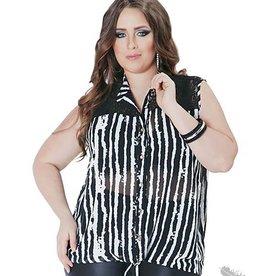 Full Figured Fashionista Black & White Strip Tank
