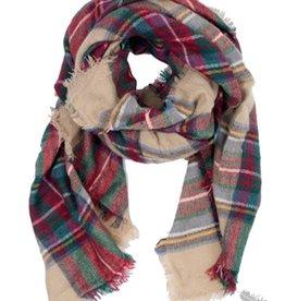 Pretty Pursuasions Beige Plaid Blanket Scarf