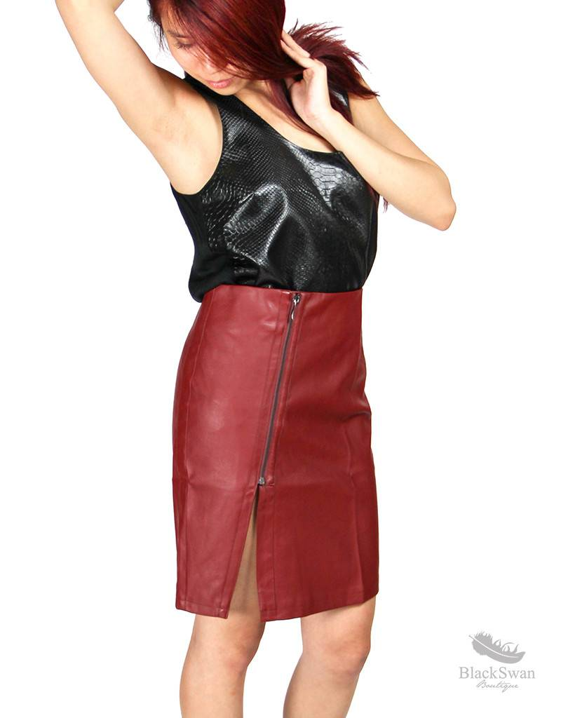 Very J Red Wine Leather Pencil Skirt