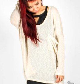 cecico Oversized Pocket Sweater - Beige
