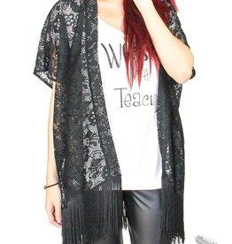 Origami Lace Kimono - Black