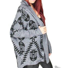 Very J FishBone Sweater - Black & Charcoal Grey