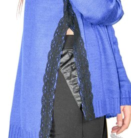 Wells Grace Cobalt Sweater with Black Lace