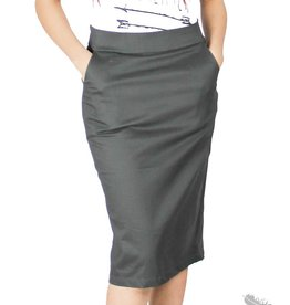 Mikarose Graphite Grey Pencil Skirt with Gunmetal Exposed Zipper