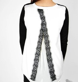 Dex It's All About That Lace Sweater - Black & White