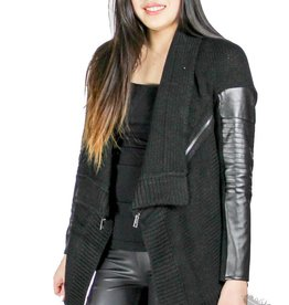 Dex Leather & Zipper Cardigan