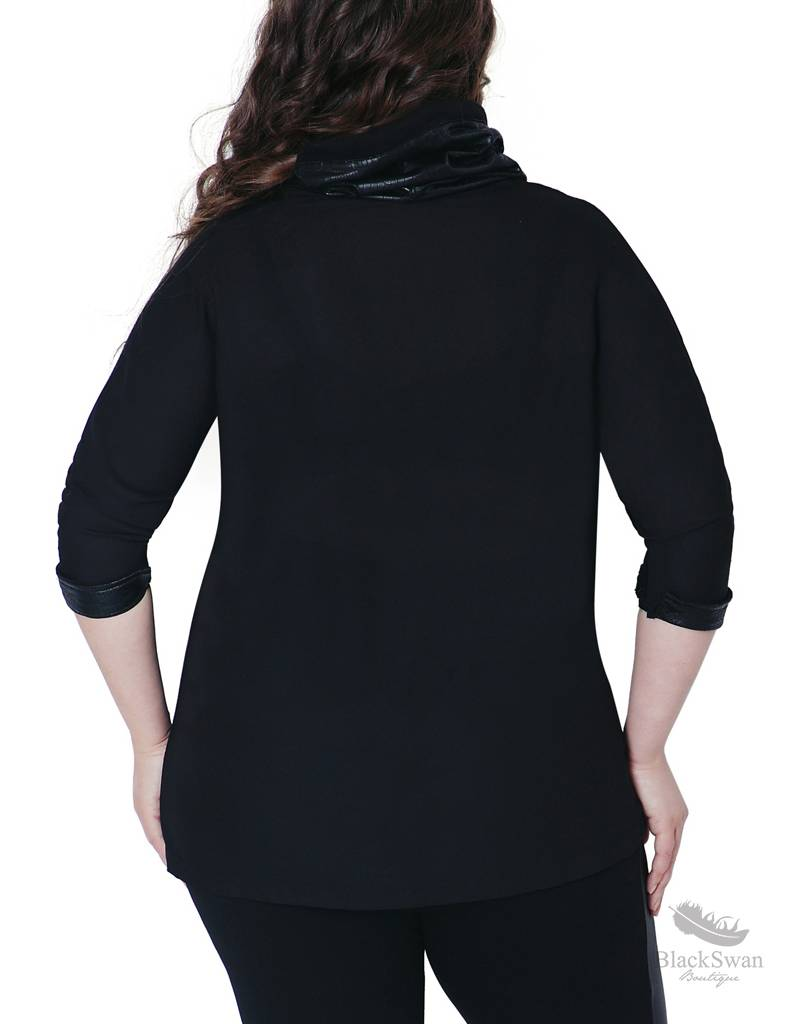 Full Figured Fashionista Cozy Up In Comfort Black Cowlneck Shirt