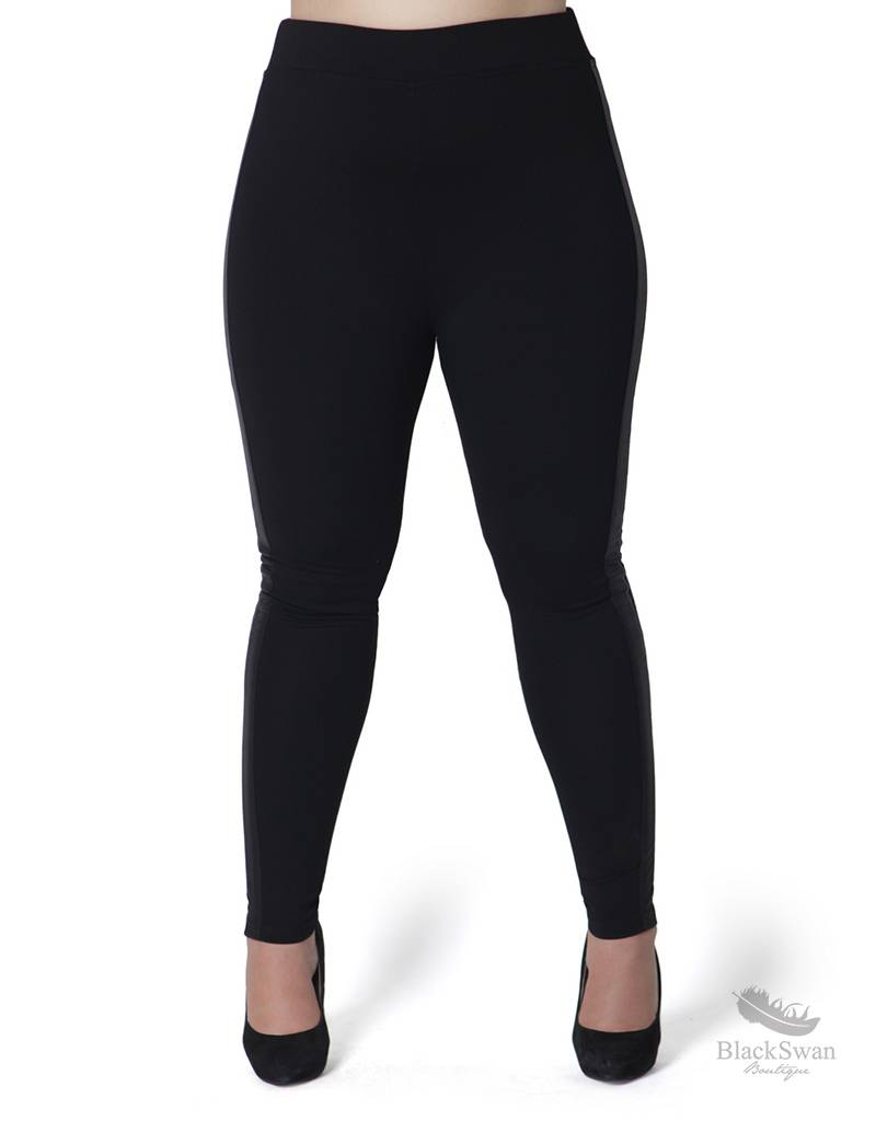 Full Figured Fashionista Leather Stripe Leggings