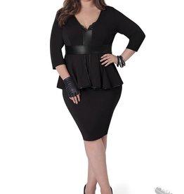 Full Figured Fashionista Sleeved Peplum Dress - Black