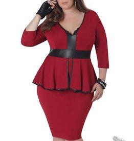 Full Figured Fashionista Sleeved Peplum Dress - Red
