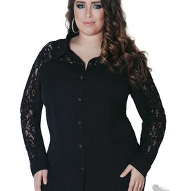 Full Figured Fashionista Long Sleeve Lace Button Down - Black
