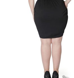 Full Figured Fashionista Black Pocket Tulip Mini Skirt