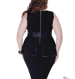 Full Figured Fashionista Sleeveless Peplum Dress - Black
