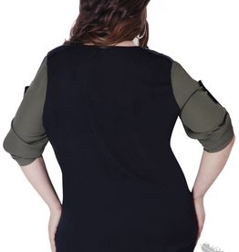 Full Figured Fashionista Leather Touch Shirt - Black & Olive