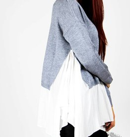 Wells Grace Oversized Sweater with White - Grey