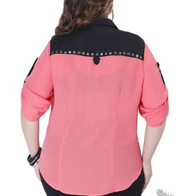 Full Figured Fashionista Studded Buttondown - Coral