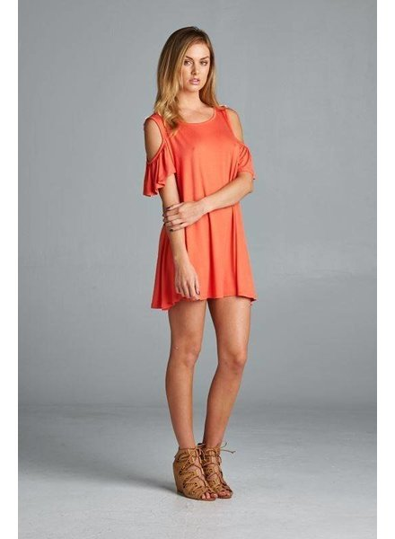 Coral Exposed Shoulder Mini Dress