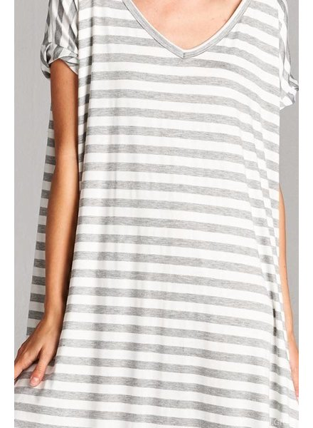 Short Sleeve Striped Maxi Dress