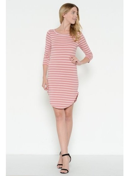 3/4 Sleeve Striped T Shirt Dress