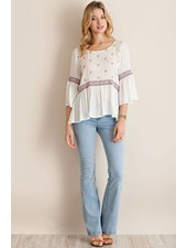 White Peasant 3/4 Sleeve Top