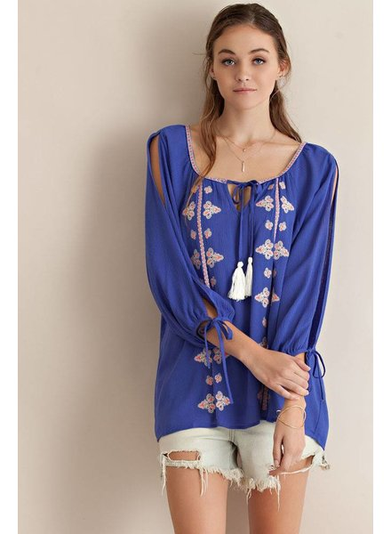 Blue Slit Sleeve Peasant Top