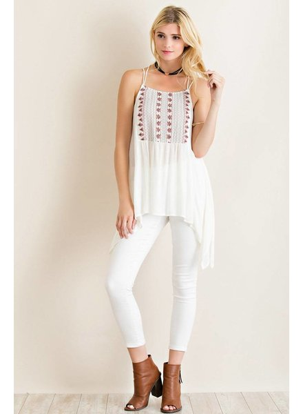 White Peasant Tank Top