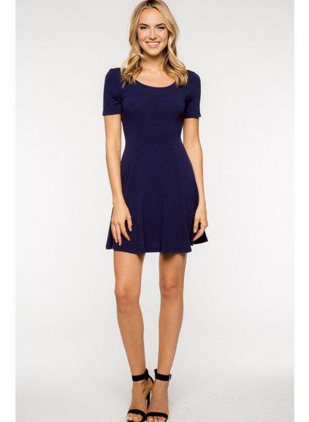 Short Sleeve Navy Scoop Back Dress