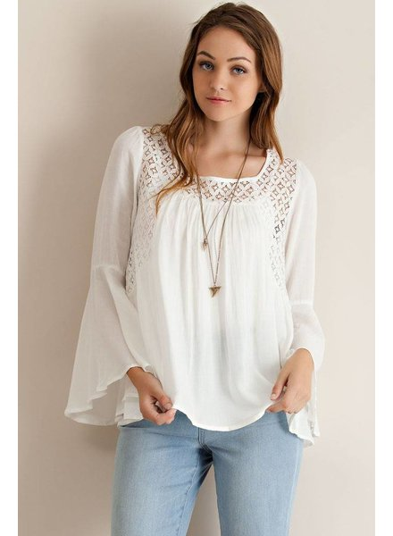 Bell Sleeve Solid Peasant Top Top