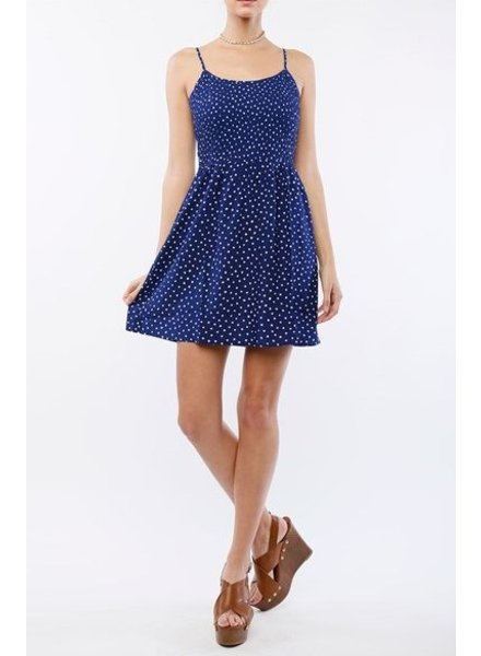 Navy & White Patterned Mini Dress