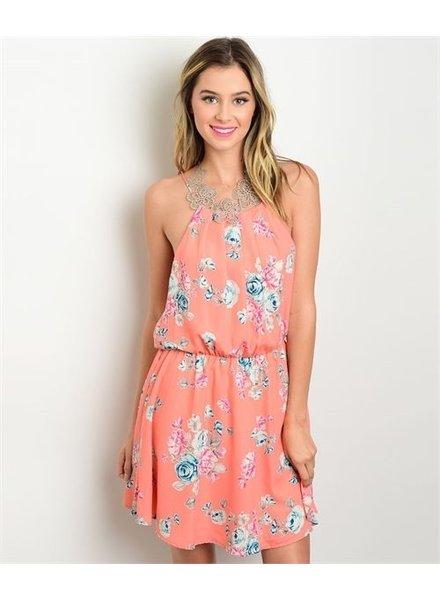 Peach Floral Mini Dress