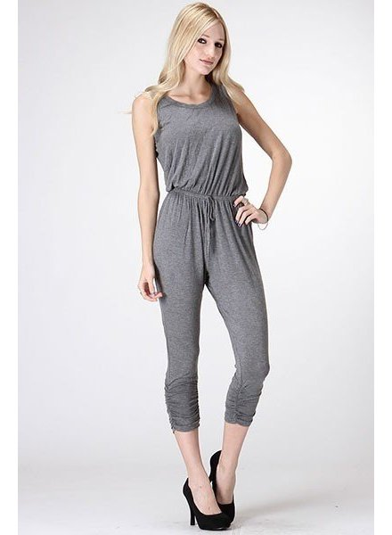 Exposed Back Capri Jumpsuit