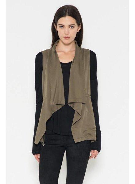 Sleeveless Draped Vest in Olive