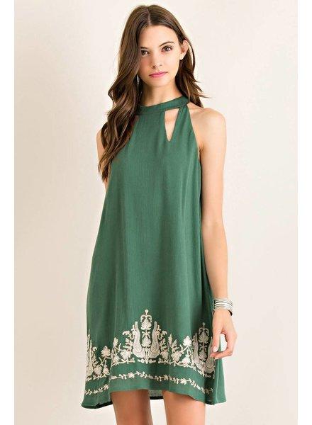 Hunter Green Crinkle Dress