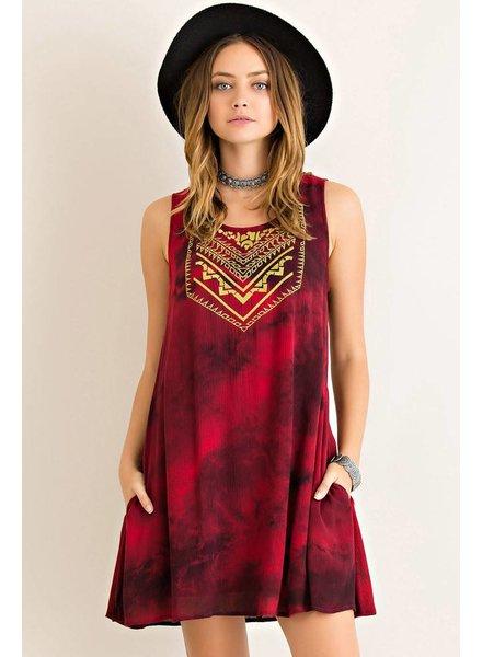 Tie Dye Sleeveless Dress in Wine