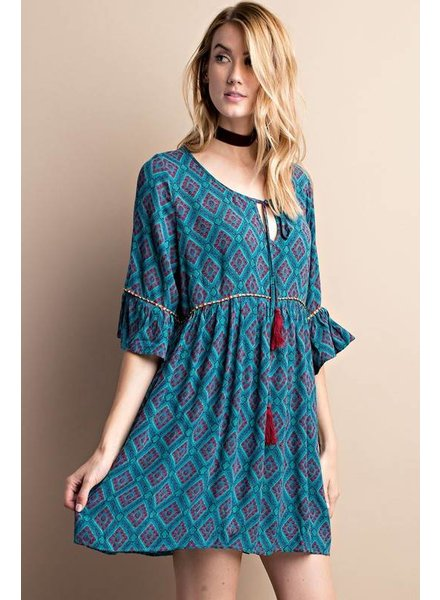 Patterned Tassel Dress