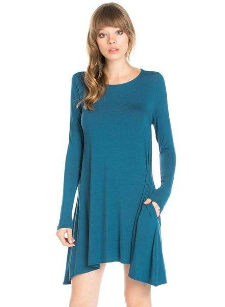 Long Sleeve Pocket Swing Dress
