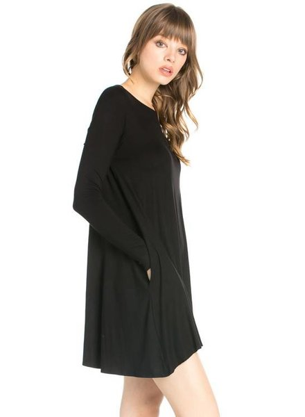 Long Sleeve Pocket Swing Dress