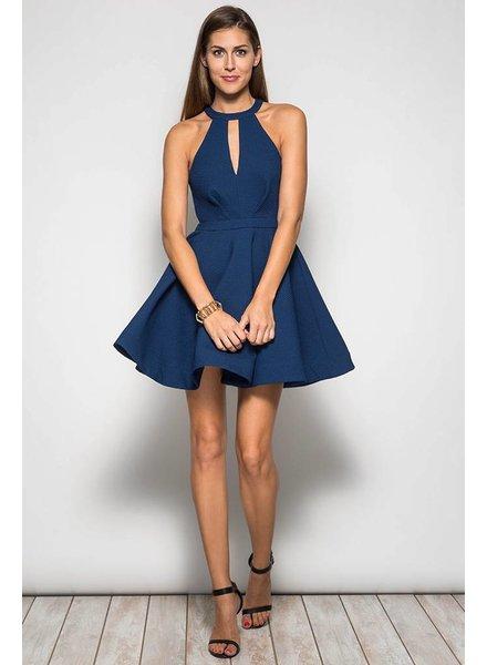 Sleeveless High Neck Mini Dress