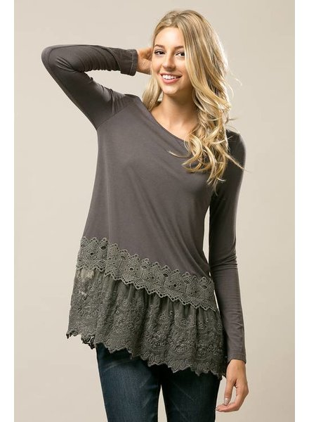 Long Sleeve Lace Top in Dark Grey