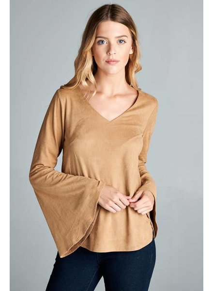 Suede Bell Sleeve Top in Camel