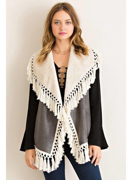 Solid Fringe Vest in Charcoal