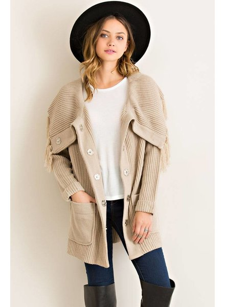 Rib Button Down Solid Cardigan in Sand