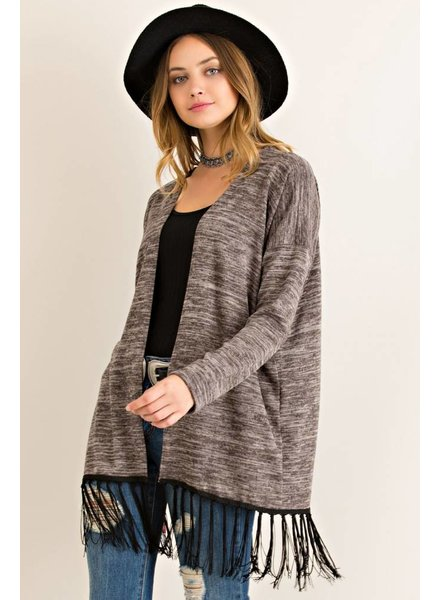 Fringe Open Cardigan in Mocha