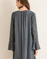 Button Down Lace Dress in Charcoal