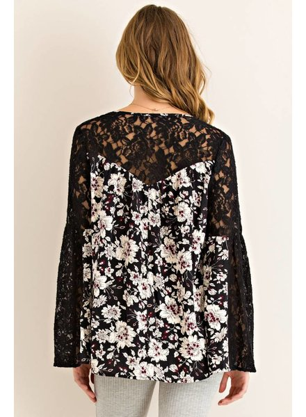 V-Neck Lace Floral Top in Black