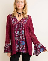 Crochet Floral Blouse in Wine