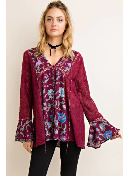 Crochet Floral Blouse in Wine