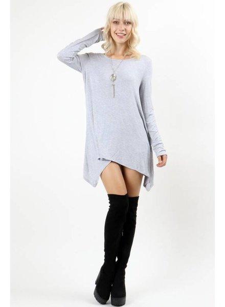 Long Sleeve Basic Top in Heathered Grey